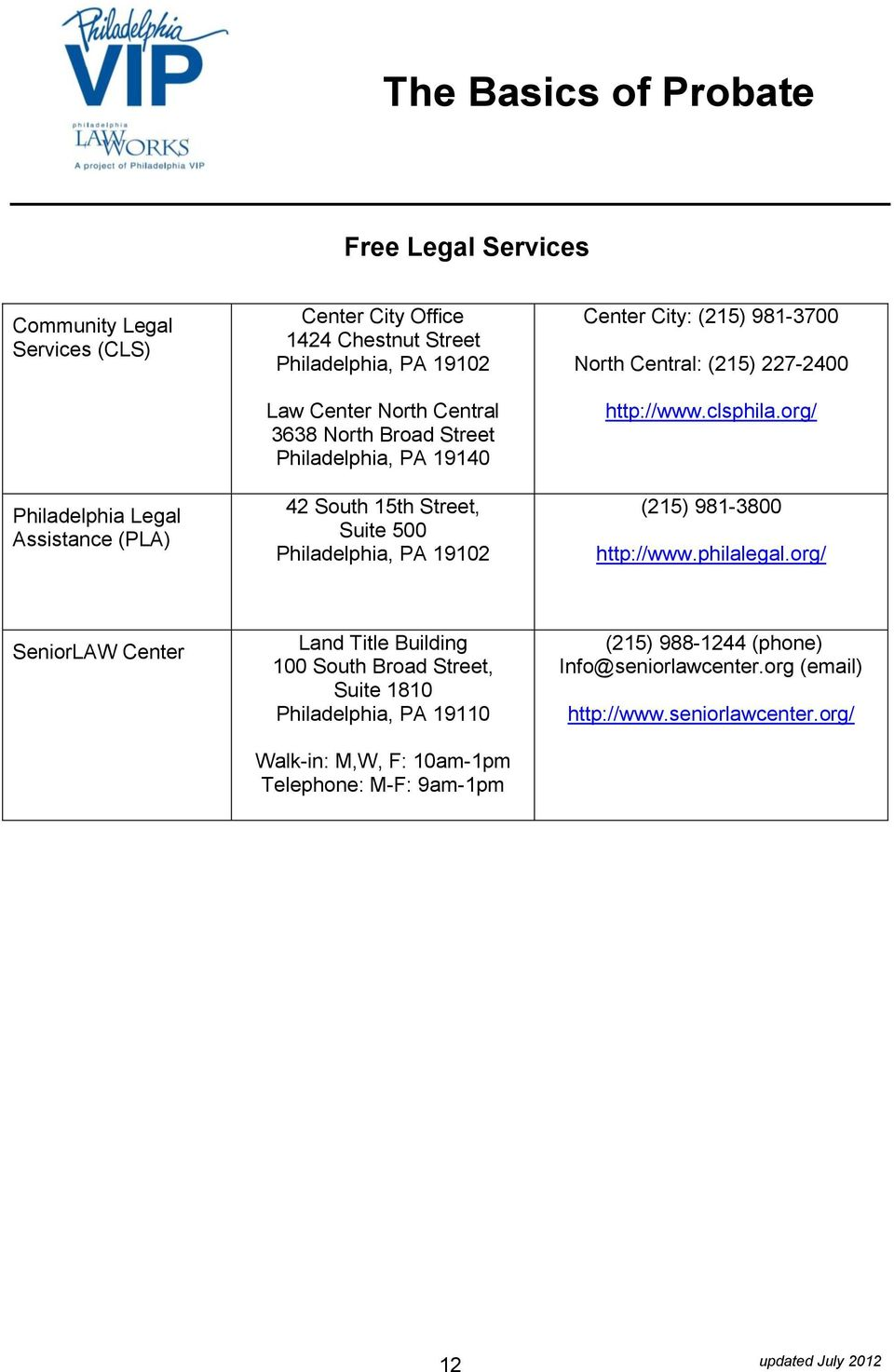 Central: (215) 227-2400 http://www.clsphila.org/ (215) 981-3800 http://www.philalegal.