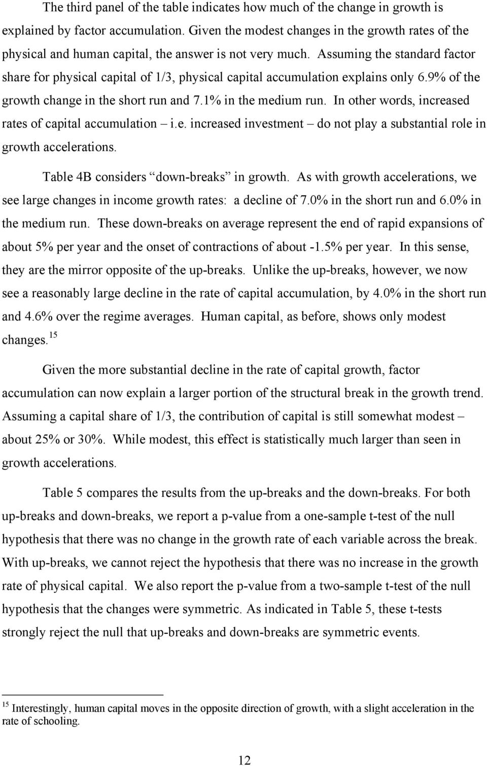 Assuming the standard factor share for physical capital of 1/3, physical capital accumulation explains only 6.9% of the growth change in the short run and 7.1% in the medium run.