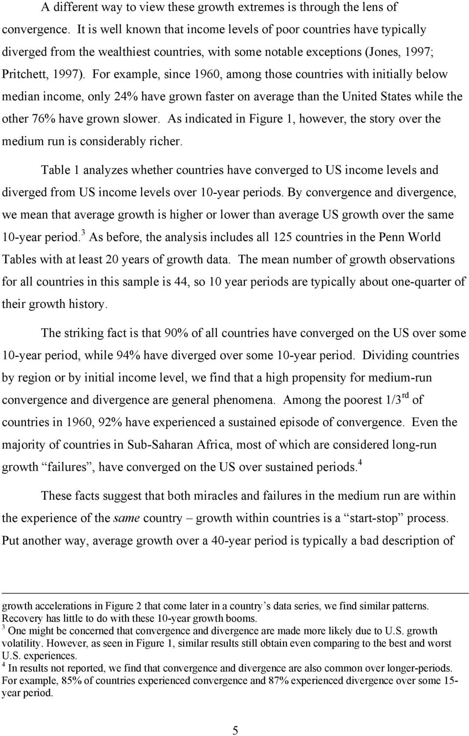 For example, since 1960, among those countries with initially below median income, only 24% have grown faster on average than the United States while the other 76% have grown slower.