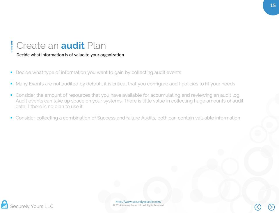 you have available for accumulating and reviewing an audit log.