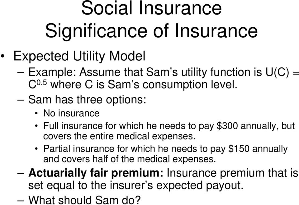 Sam has three options: No insurance Full insurance for which he needs to pay $300 annually, but covers the entire medical