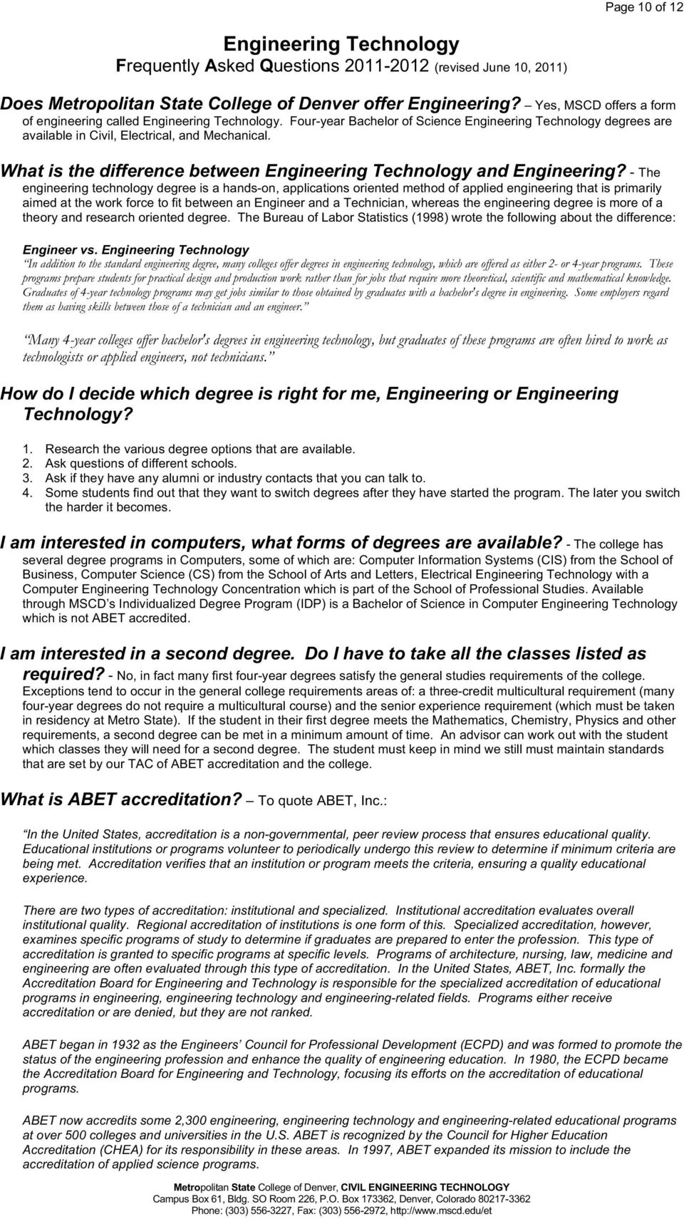 What is the difference between Engineering Technology and Engineering?
