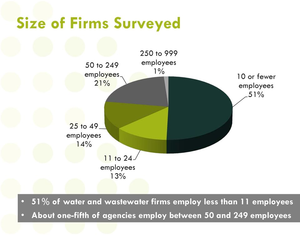employees 13% 51% of water and wastewater firms employ less than 11