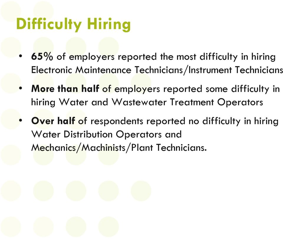 difficulty in hiring Water and Wastewater Treatment Operators Over half of respondents