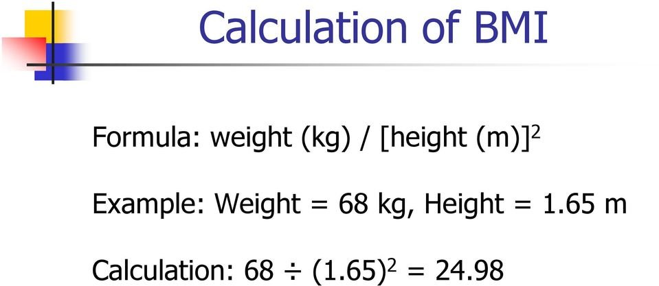 Example: Weight = 68 kg, Height