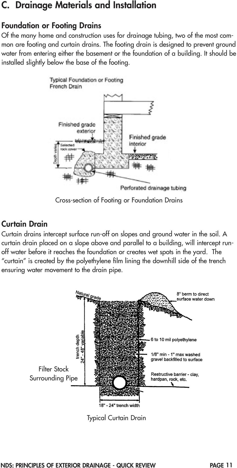 Cross-section of Footing or Foundation Drains Curtain Drain Curtain drains intercept surface run-off on slopes and ground water in the soil.
