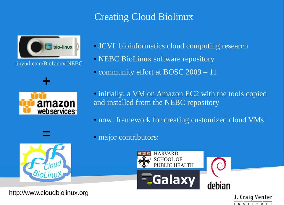 repository community effort at BOSC 2009 11 initially: a VM on Amazon EC2 with the tools