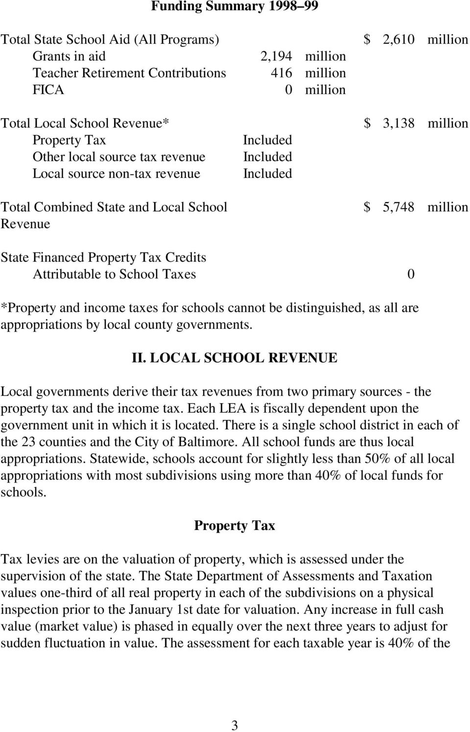 Tax Credits Attributable to School Taxes 0 *Property and income taxes for schools cannot be distinguished, as all are appropriations by local county governments. II.