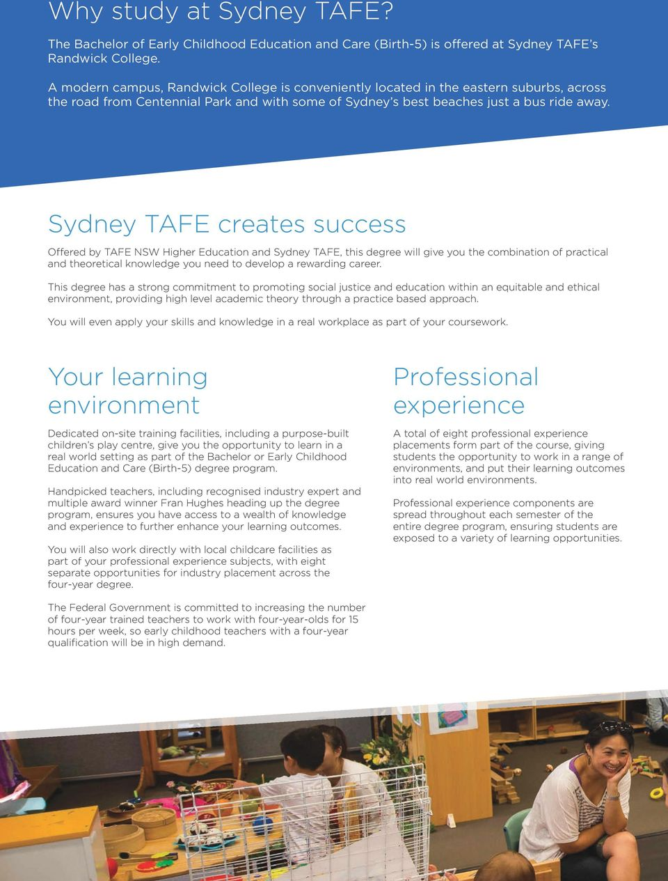 Sydney TAFE creates success Offered by TAFE NSW Higher Education and Sydney TAFE, this degree will give you the combination of practical and theoretical knowledge you need to develop a rewarding