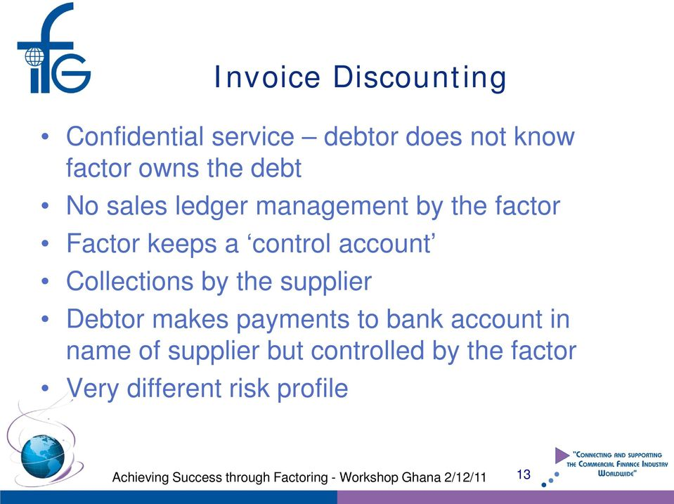 account Collections by the supplier Debtor makes payments to bank account