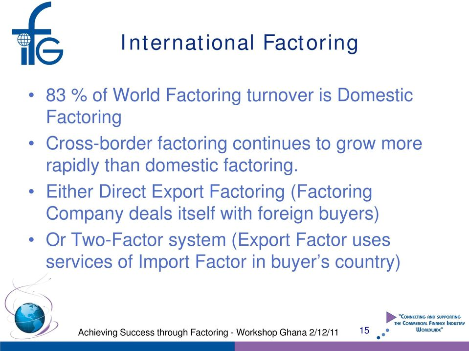Either Direct Export Factoring (Factoring Company deals itself with foreign