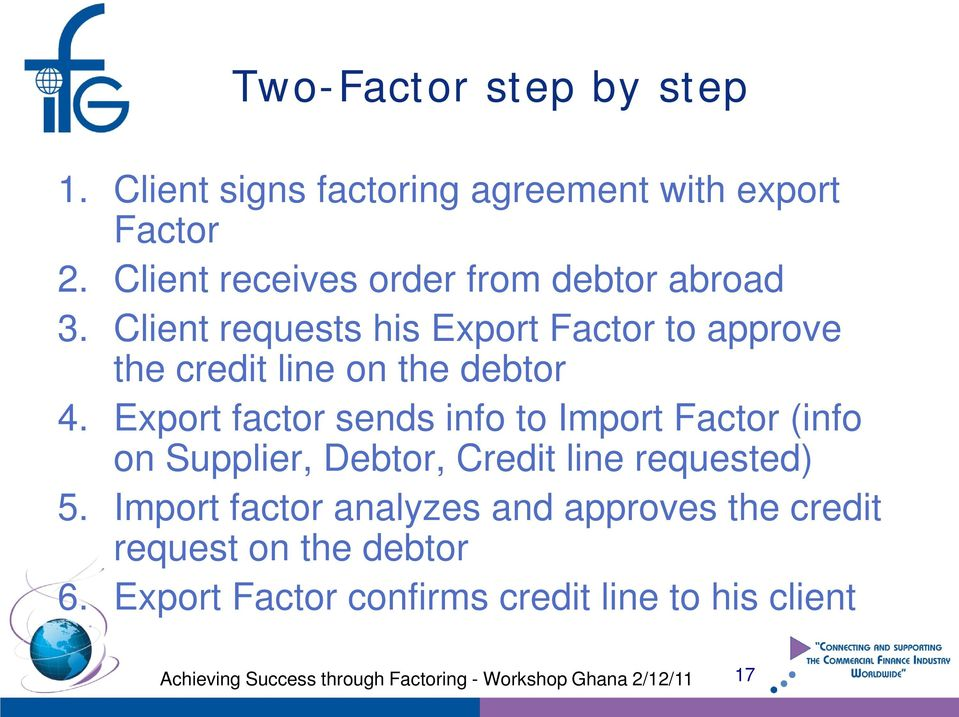 Client requests his Export Factor to approve the credit line on the debtor 4.