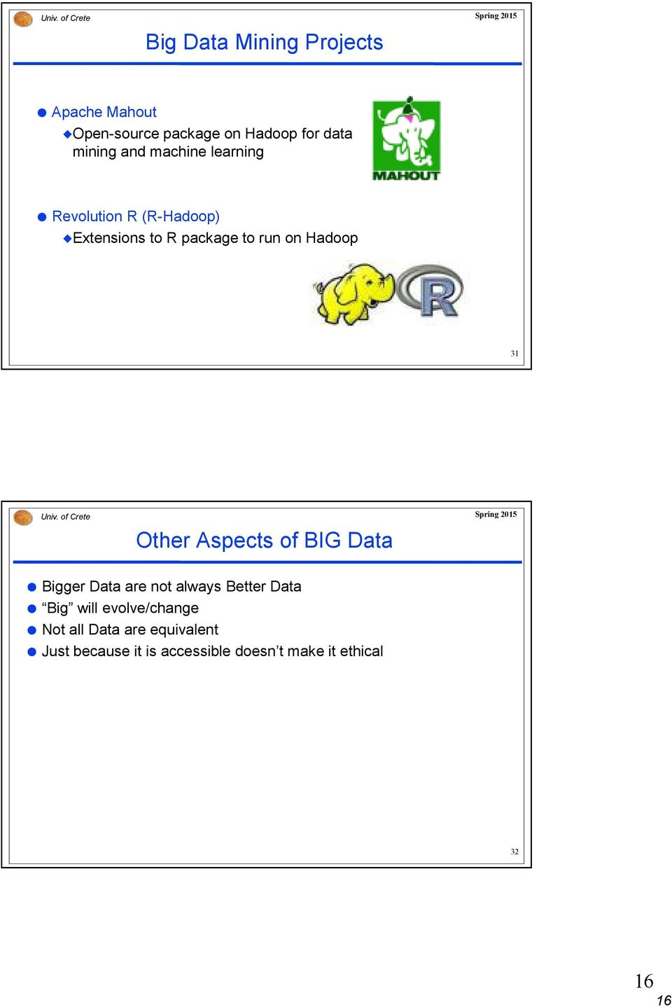 Hadoop 31 Other Aspects of BIG Data Bigger Data are not always Better Data Big will