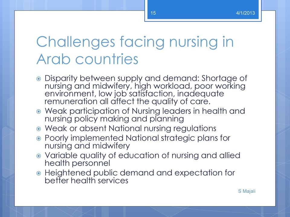 Weak participation of Nursing leaders in health and nursing policy making and planning Weak or absent National nursing regulations Poorly
