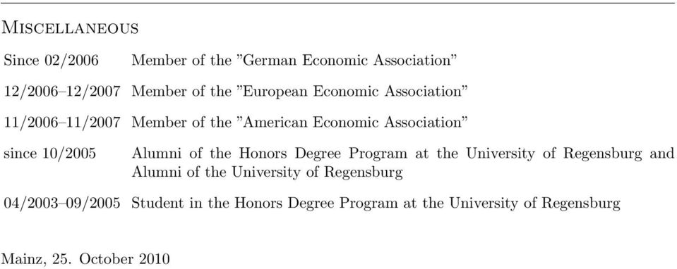 Alumni of the Honors Degree Program at the University of Regensburg and Alumni of the University of