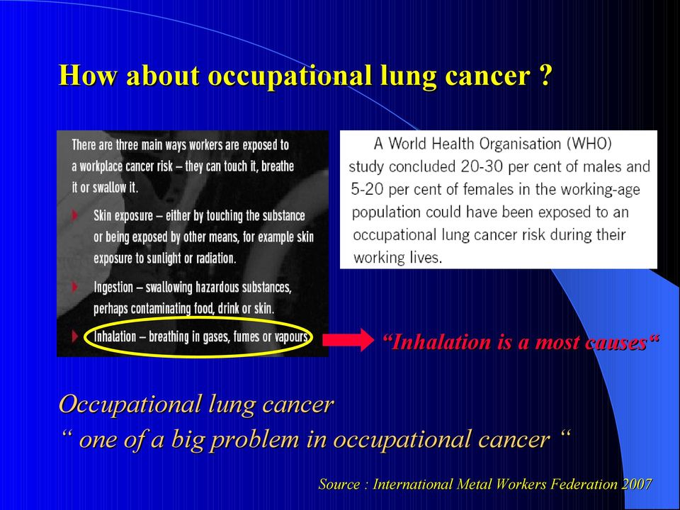cancer one of a big problem in occupational