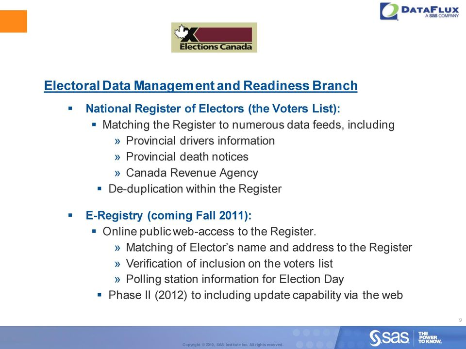 E-Registry (coming Fall 2011): Online public web-access to the Register.