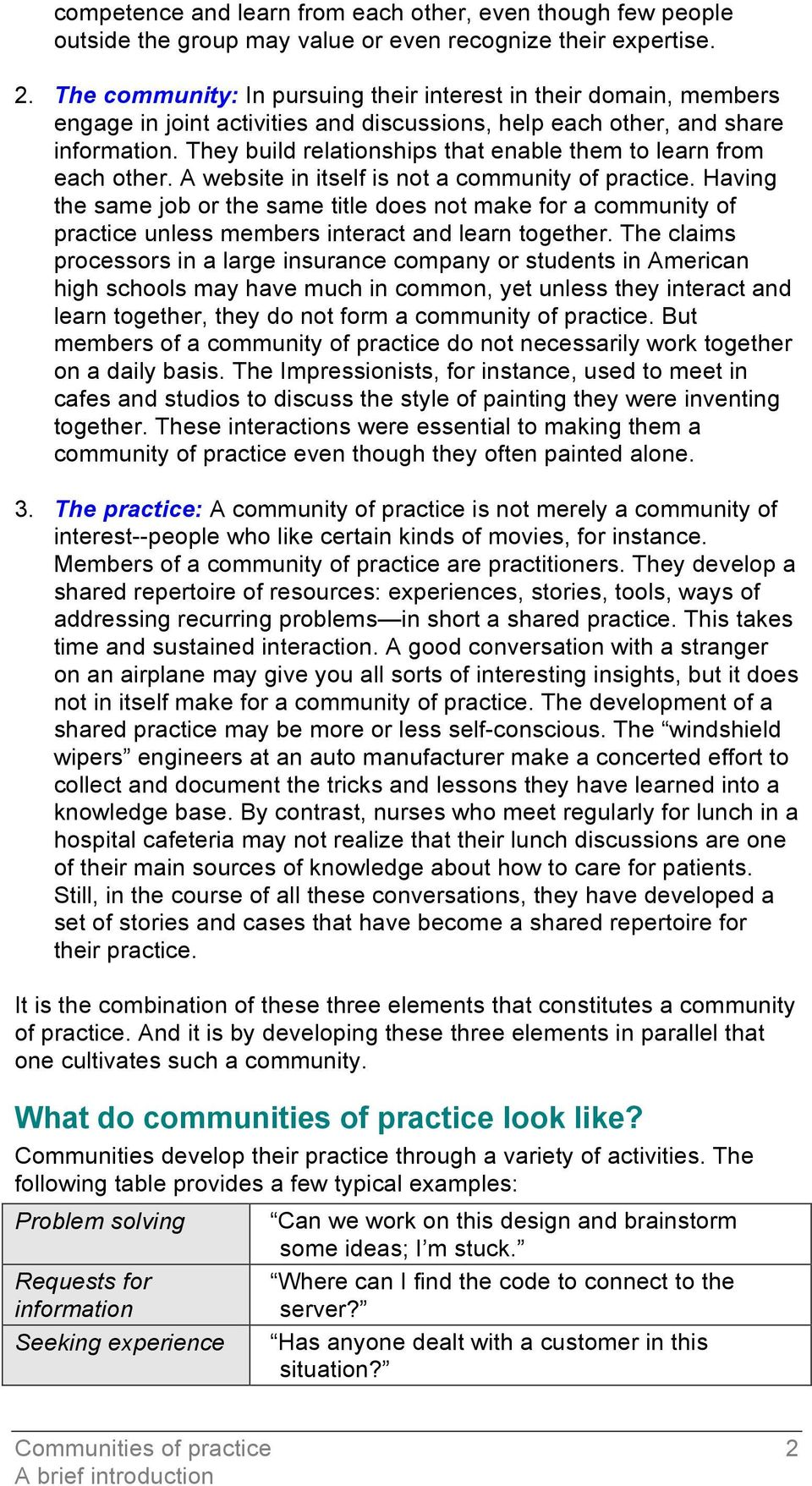 They build relationships that enable them to learn from each other. A website in itself is not a community of practice.