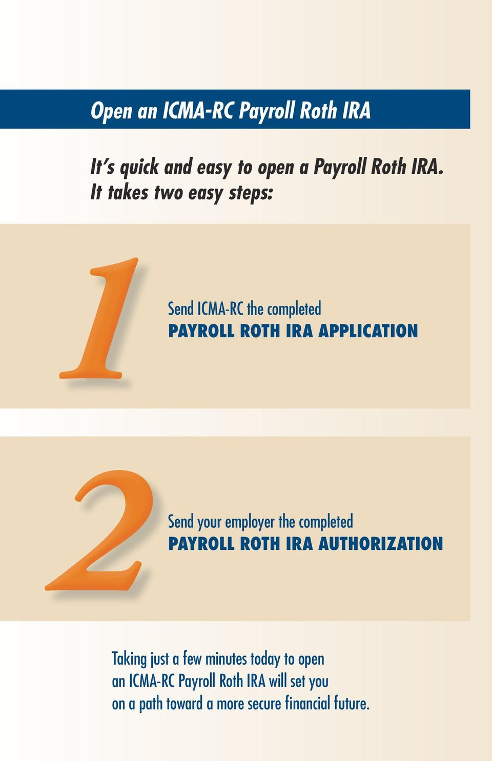 your employer the completed PAYROLL ROTH IRA AUTHORIZATION Taking just a few minutes