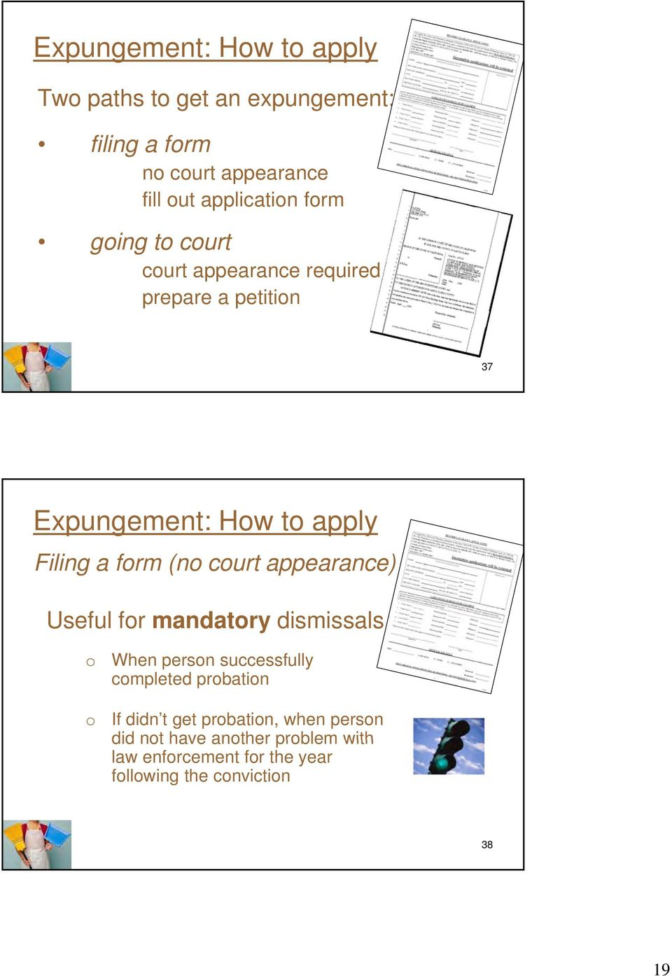 court appearance) Useful for mandatory dismissals o o When person successfully completed probation If didn t get
