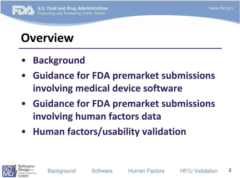 Guidance for FDA premarket submissions
