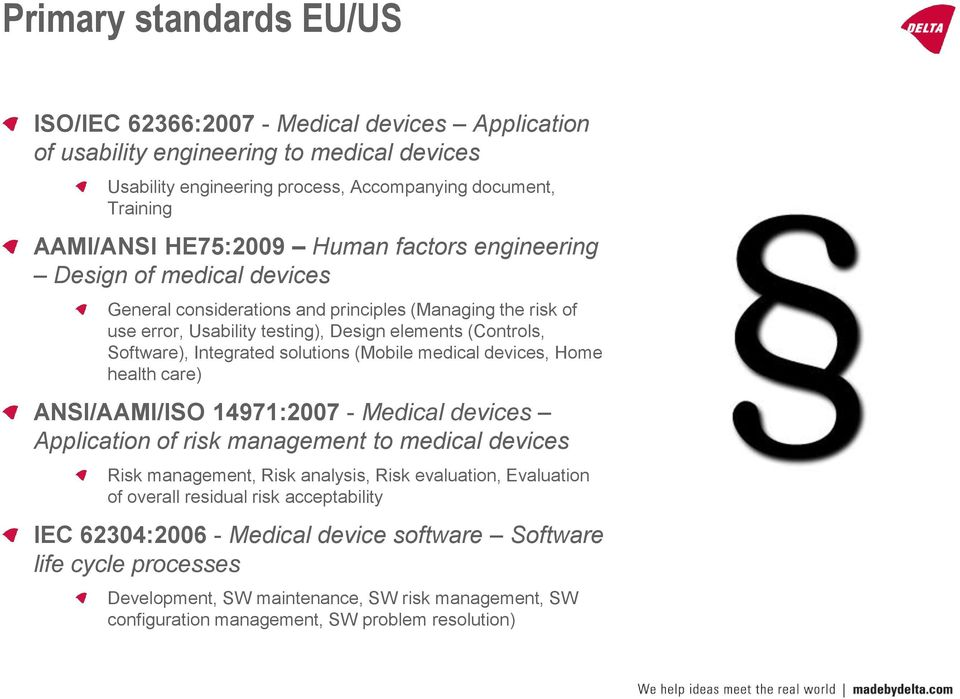 solutions (Mobile medical devices, Home health care) ANSI/AAMI/ISO 14971:2007 - Medical devices Application of risk management to medical devices Risk management, Risk analysis, Risk evaluation,