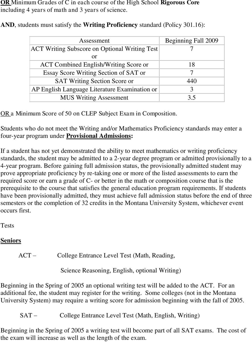 440 AP English Language Literature Examination or MUS Writing Assessment.5 OR a Minimum Score of 50 on CLEP Subject Exam in Composition.