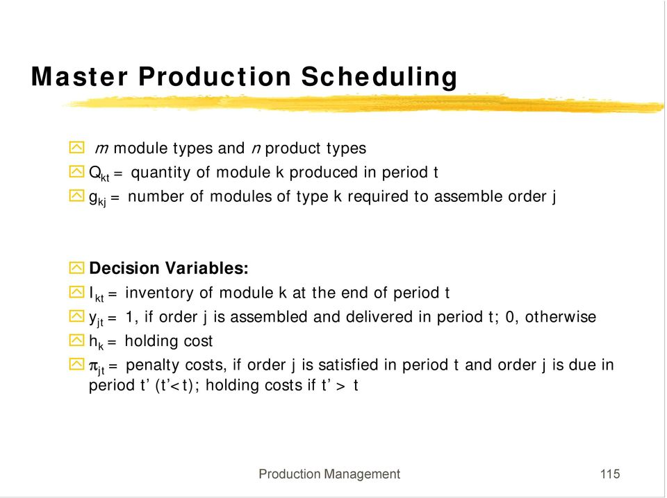 period t y jt =, if order j is assembled and delivered in period t; 0, otherwise h k = holding cost π jt = penalty