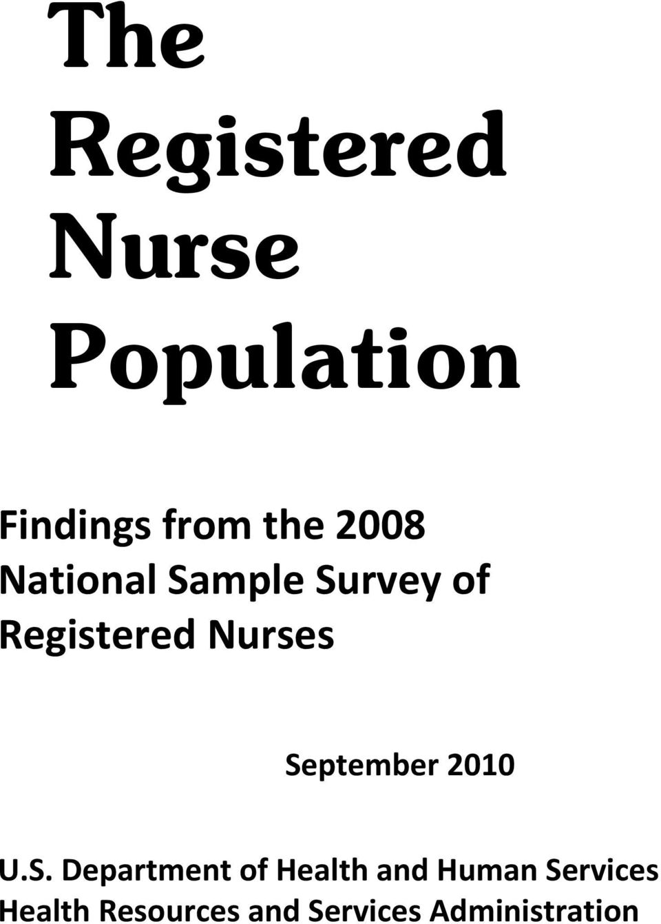 September 2010 U.S. Department of Health and Human