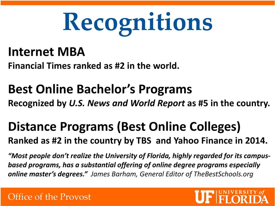 Distance Programs (Best Online Colleges) Ranked as #2 in the country by TBS and Yahoo Finance in 2014.