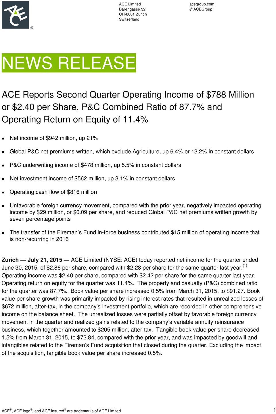 2% in constant dollars P&C underwriting income of $478 million, up 5.5% in constant dollars Net investment income of $562 million, up 3.