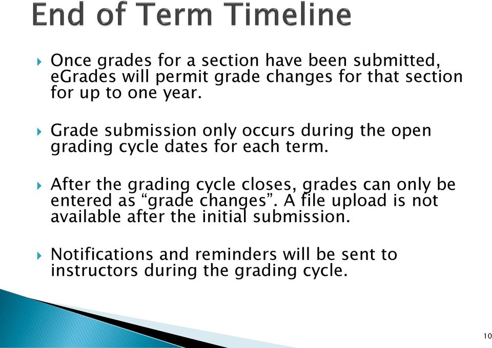 After the grading cycle closes, grades can only be entered as grade changes.