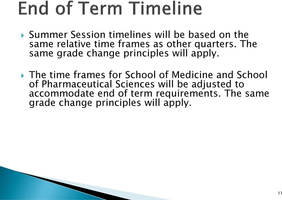 The time frames for School of Medicine and School of Pharmaceutical Sciences