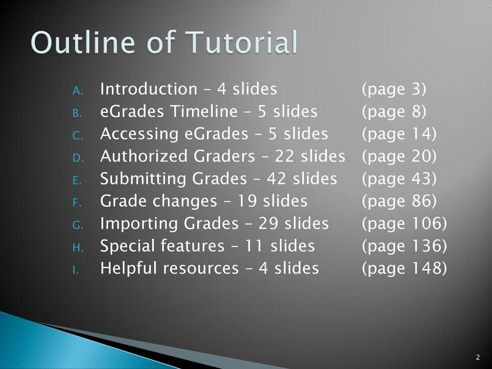 Submitting Grades 42 slides (page 43) F. Grade changes 19 slides (page 86) G.