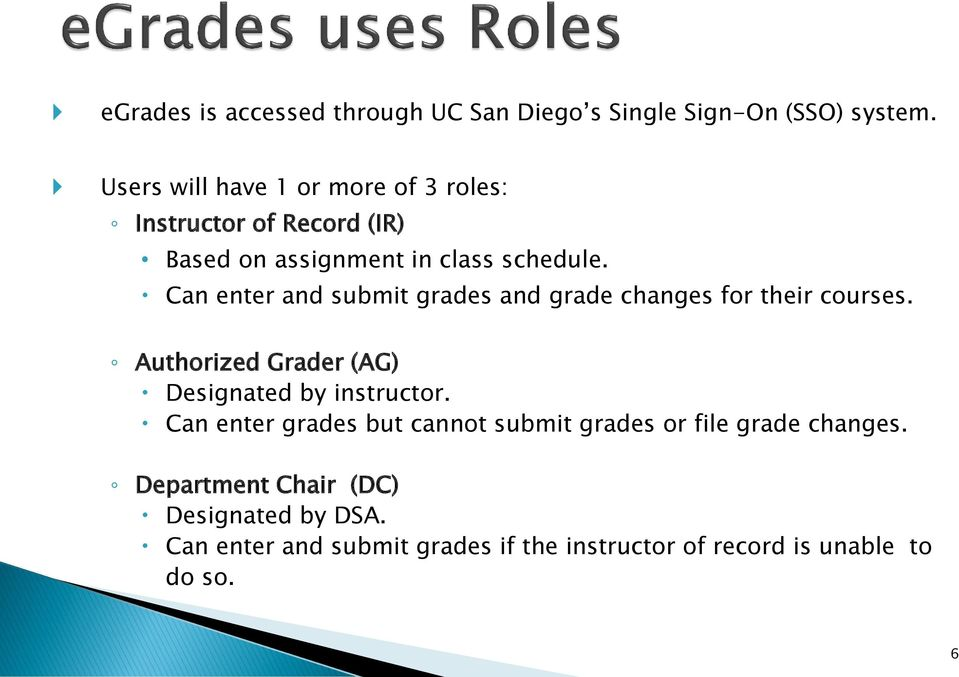 Can enter and submit grades and grade changes for their courses. Authorized Grader (AG) Designated by instructor.