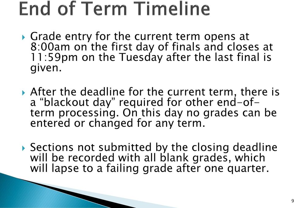 After the deadline for the current term, there is a blackout day required for other end-ofterm processing.