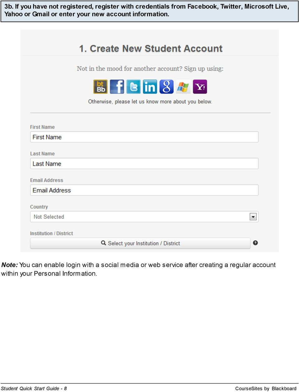 Note: You can enable login with a social media or web service after creating