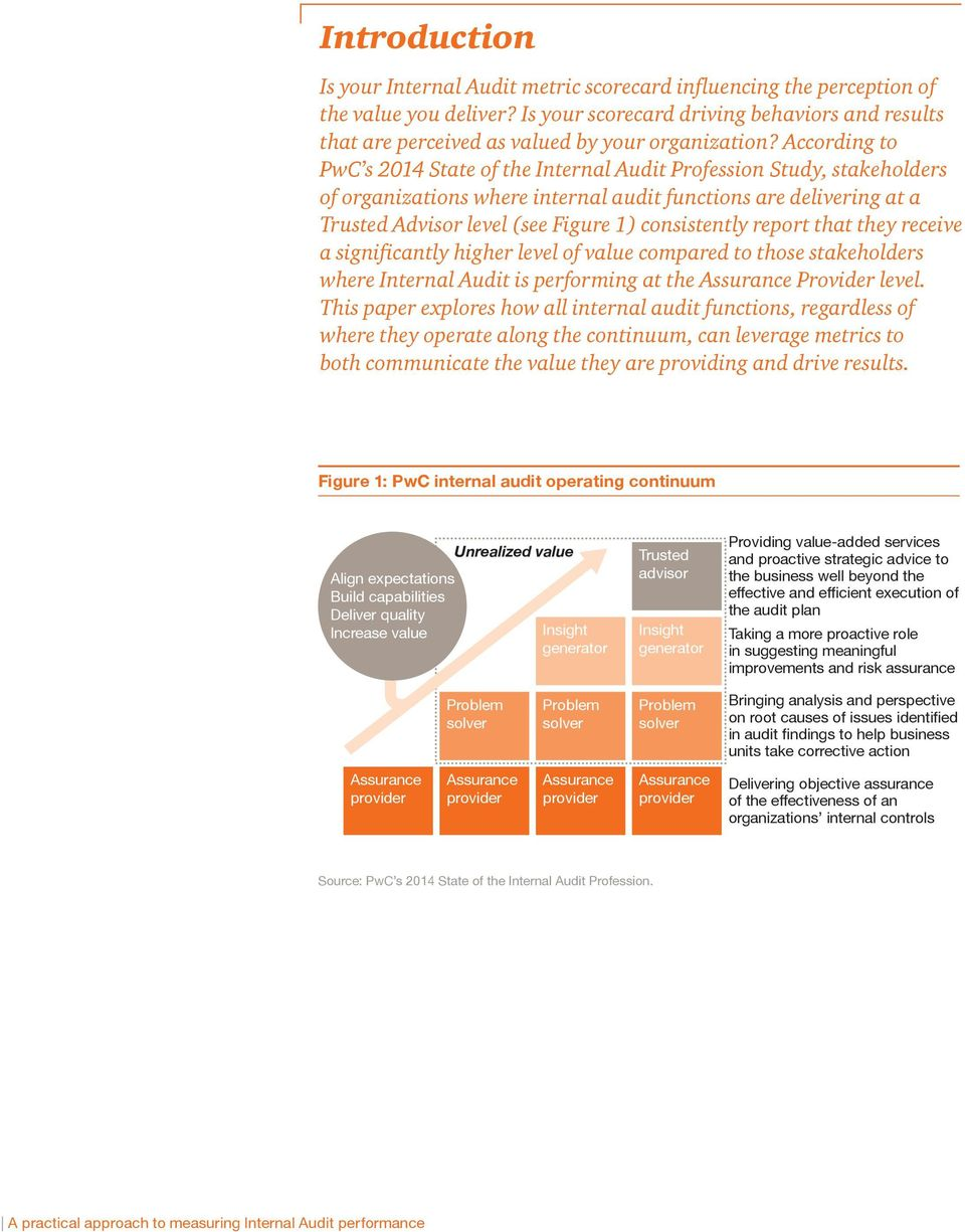 According to PwC s 2014 State of the Internal Audit Profession Study, stakeholders of organizations where internal audit functions are delivering at a Trusted Advisor level (see Figure 1)