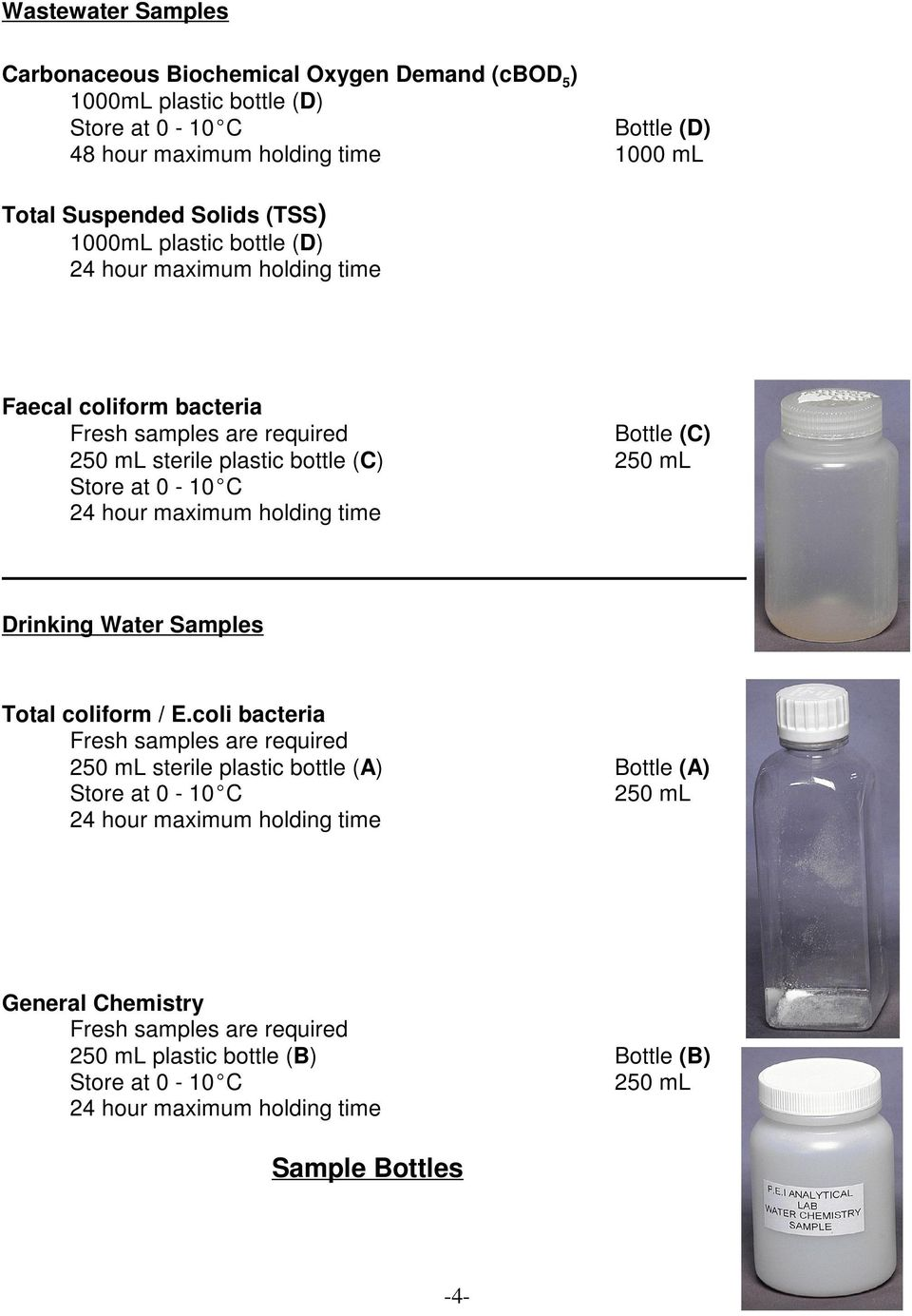 24 hour maximum holding time Drinking Water Samples Total coliform / E.