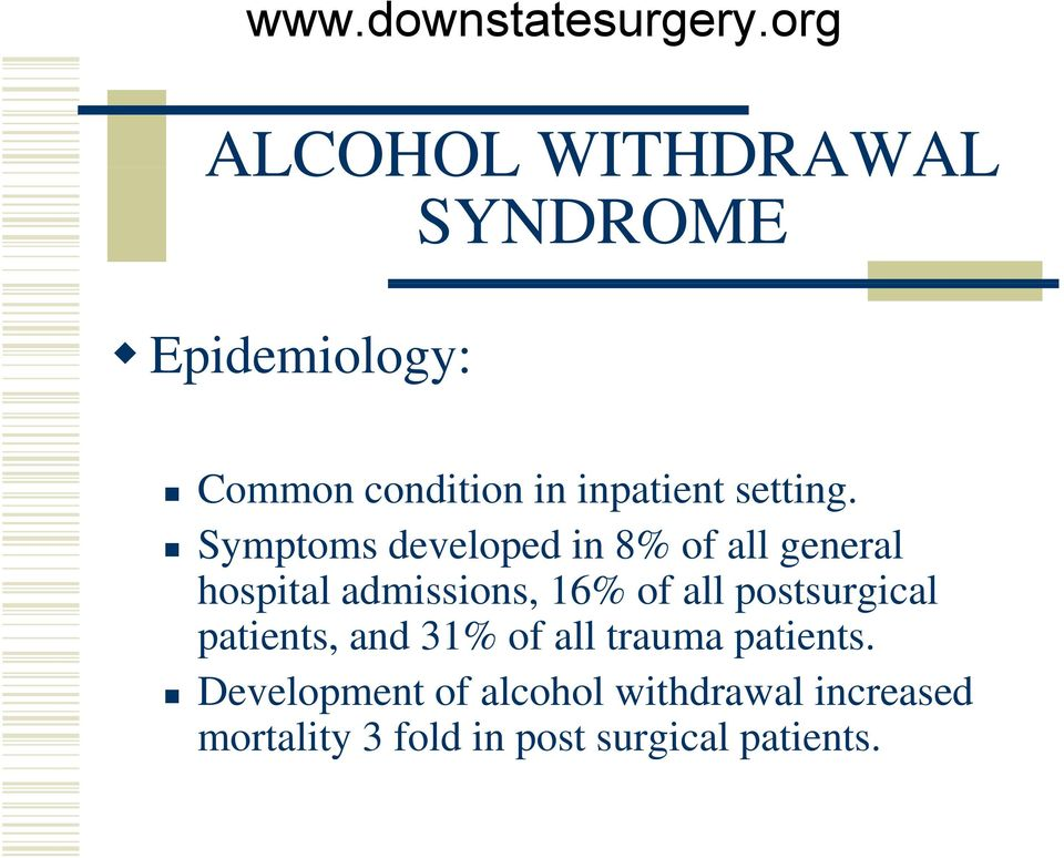 Symptoms developed in 8% of all general hospital admissions, 16% of all