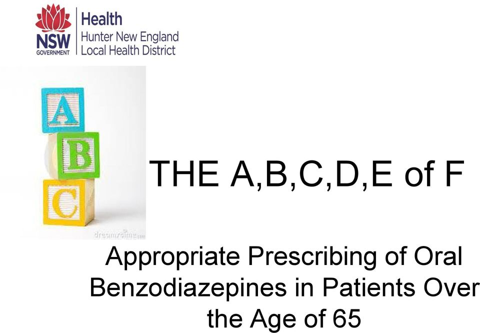 of Oral Benzodiazepines