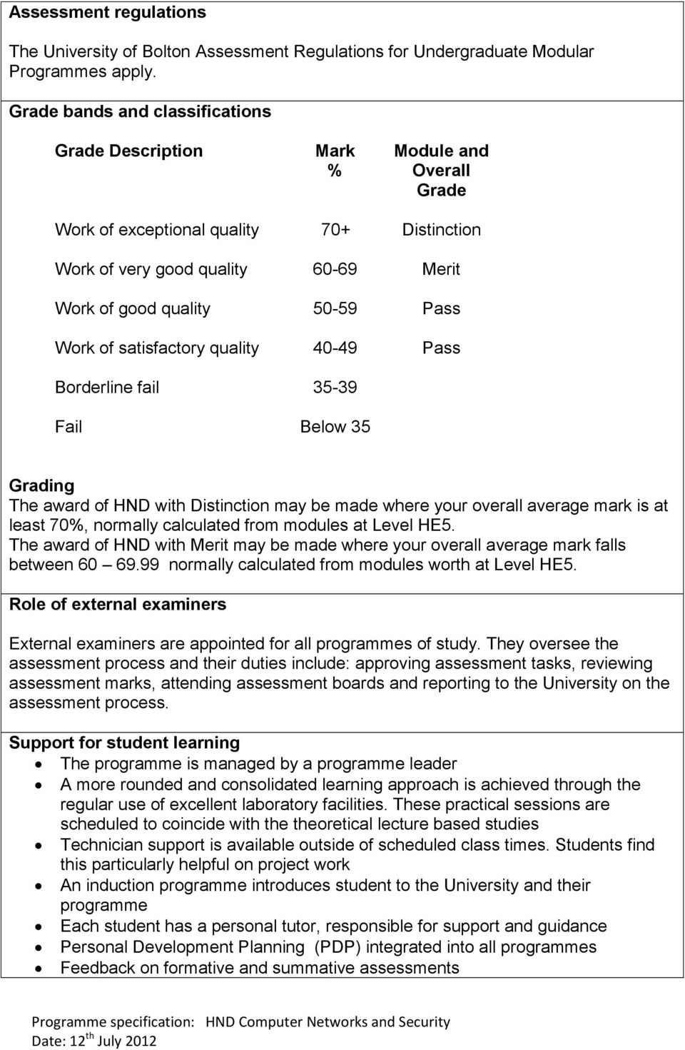 Work of satisfactory quality 40-49 Pass Borderline fail 35-39 Fail Below 35 Grading The award of HND with Distinction may be made where your overall average mark is at least 70%, normally calculated