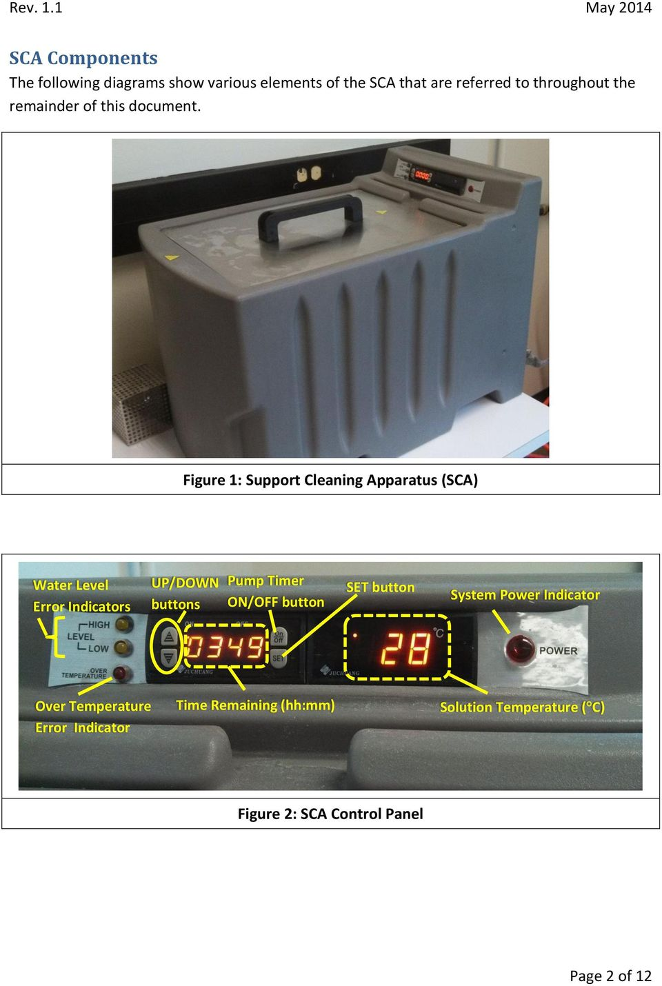 Figure 1: Support Cleaning Apparatus (SCA) Water Level Error Indicators UP/DOWN buttons Pump Timer