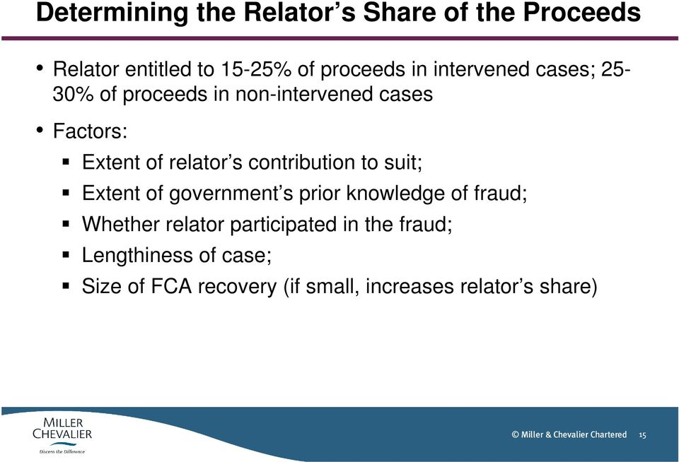 contribution to suit; Extent of government s prior knowledge of fraud; Whether relator