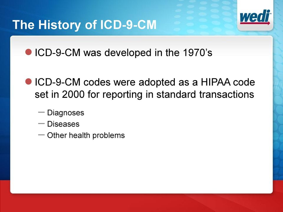 HIPAA code set in 2000 for reporting in standard