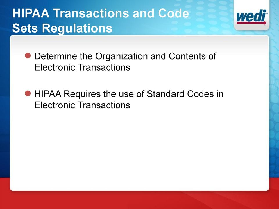 Electronic Transactions HIPAA Requires the