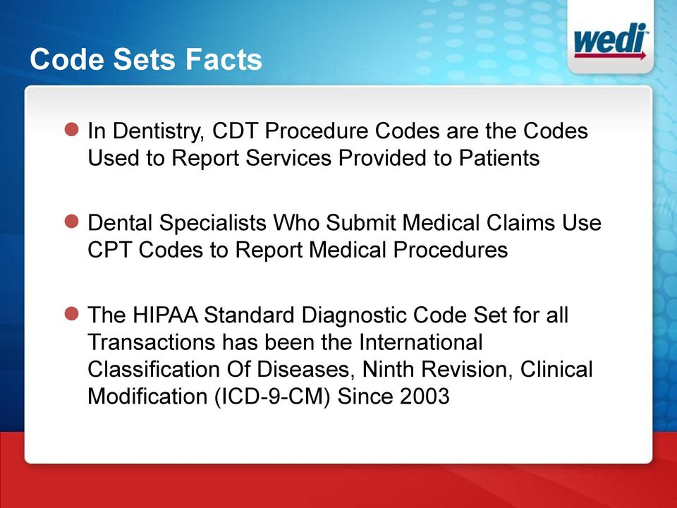 Medical Procedures The HIPAA Standard Diagnostic Code Set for all Transactions has been the