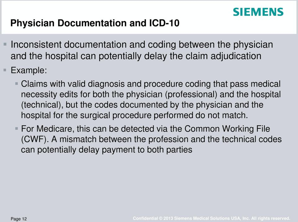 hospital (technical), but the codes documented by the physician and the hospital for the surgical procedure performed do not match.