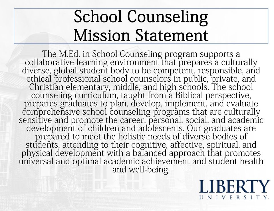 counselors in public, private, and Christian elementary, middle, and high schools.