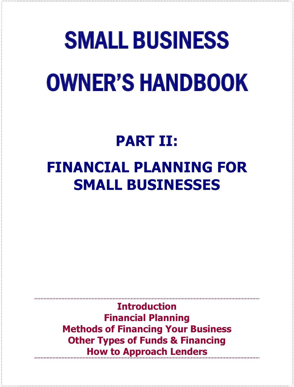 Financial Planning Methods of Financing Your